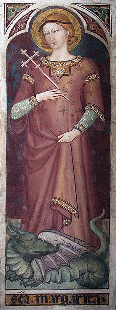 St Margaret 14thc fresco fragment, San Francesco, Siena