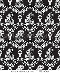 Paisley pattern on black - buy this vector on Shutterstock & find other images.