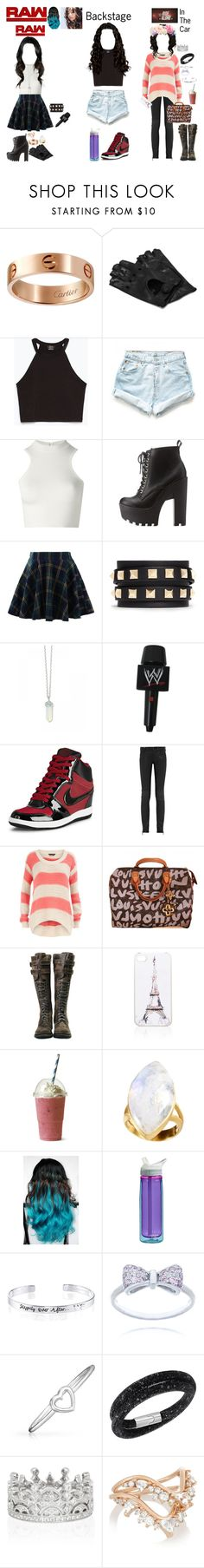 """WWE RP"" by kaelighofficial ❤ liked on Polyvore featuring WWE, Cartier, Napoli, Zara, Levi's, Versace, Charlotte Russe, Chicwish, Valentino and NIKE"