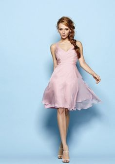 Queen Anne A line Knee Length Sleeveless Chiffon Bridesmaid Dress With Ruching - Angeldress.co.uk