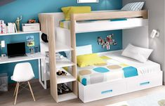 Boys Room Decor, Kids Bedroom, Bedroom Furniture, Bedroom Decor, Bunk Bed Designs, Kids Bunk Beds, Space Saving Furniture, Kids Room Design, Interior Design Living Room