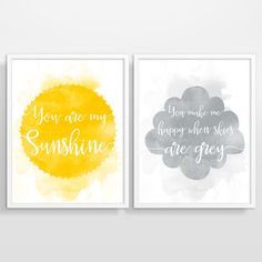 You Are My Sunshine Wall Art, Yellow and Grey Nursery Decor, Kids Room Decor, Nursery Art Print, Kids Wall Art, Set of 2 by BeautifulType on Etsy https://www.etsy.com/listing/230084539/you-are-my-sunshine-wall-art-yellow-and