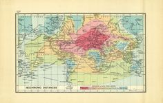 A historic 'isochronic' map highlights how long it would take someone to   travel from London to various corners of the British Empire in 1914