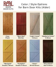 Real Barn Door Kit color and style options. Be sure to purchase the style that has the polymer wheel for indoor use otherwise it will be very noisy with the steel wheel.