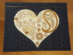 Copper Paisley Heart on Navy by zipperc98 - Cards and Paper Crafts at…