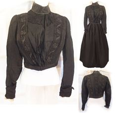 1890s Antique Victorian Silk Taffeta Black/Creme Lace Mourning Blouse Gothic Steampunk Vintage Holiday Cosplay Period Costume