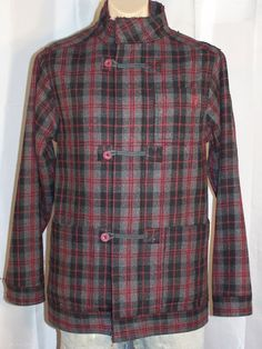 MOOKS Men's distressed heavy coat size S black grey burgundy check wool blend by sprocket2chain - $60.00