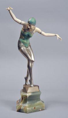 """Ferdinand Preiss bronze and ivory sculpture """"cabaret girl"""" based on a photograph of Dorissa Nelova [Albertina Rasch Dancers]."""