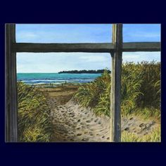 This is my watercolor painting of Stinson Beach in Northern California through a window.