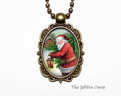 Santa Claus Necklace, Christmas Jewelry, Bronze Pendant, Stocking Stuffer Gift Christmas Necklace, Christmas Jewelry, Christmas Ornaments, Bronze Pendant, Goblin, Santa, Holiday Decor, Unique Jewelry, Handmade Gifts