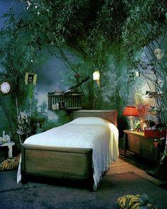 Forest Theme Bedrooms, Bedroom Themes, Bedroom Inspo, Bedroom Decor, Bedroom Ideas, Cozy Bedroom, Fantasy Rooms, Fantasy Bedroom, Dream Rooms