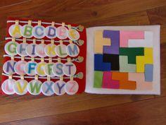 フェルトの仕掛け絵本 型紙完成 | shido-ricoのほほん子育て♪ハンドメイド日記 Diy Cutting Board, Plastic Cutting Board, Felt Toys, Origami, Nursery, Holiday Decor, Tableware, Fabric, How To Make