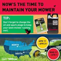Tip: Don't forget to change the oil and spark plugs to keep your lawn mower running well. #TimeToSpring