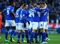 Ahead: Danny Drinkwater and Jamie Vardy celebrate as Leicester go ahead after five minutes  Read more: http://www.dailymail.co.uk/sport/football/article-2530693/Leicester-5-Bolton-3-Match-report.html#ixzz2oyAlPv1T  Follow us: @MailOnline on Twitter | DailyMail on Facebook
