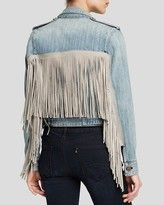 Fringe across the yoke looks cool - also looking at fringe across the bottom of a (shorter) cropped jacket (but couldn't find a pic) Cropped Denim Jacket, Fringe Jacket, Denim Top, Fashion 2017, Hijab Fashion, Layered Fashion, Looks Cool, Jacket Style, Refashion