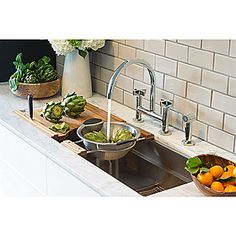 Kallista: One(TM) Deck-Mounted Bridge Kitchen Faucet, Cross Handles: P25202-CR