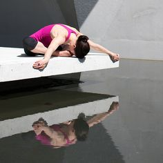 "Beautiful reflections of the ""frog pose"" #yoga #reflection #water #yogapose #photography"
