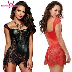 2016 Hot Sale Faux Leather Corsets And Bustiers Sexy Steampunk Overbust Corset Dress Lace-Up Hollow Out Waist Trainer S-XL