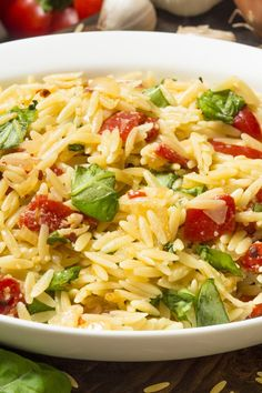 Tomato and Basil Orzo Pasta Salad Recipe - orzo, Roma tomato, fresh ...