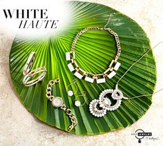 """**Fever Fridays!** We're feeling """"white haute"""" with our new glamorous pieces in white and gold! SHOP: http://bit.ly/1HkPUz4 #justjewelry #jewelry #white #new #springfashion #feverfridays"""