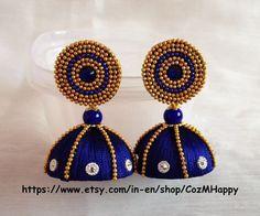 Big silk thread jhumkas Silk thread earrings by CozMHappy on Etsy Silk Thread Earrings Designs, Silk Thread Jhumkas, Silk Thread Bangles Design, Silk Thread Necklace, Silk Bangles, Thread Jewellery, Fabric Jewelry, India Jewelry, Jewellery Designs