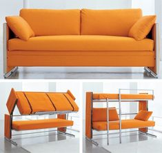 Sure we've all seen convertible sofas that transform into a double bed and even easy chairs that convert to single beds but have you ever seen a couch that can become bunk beds? Now you have with the space saving Doc couch from Resource Furniture. The cover is fully removable for easy cleaning and there is an integrated ladder. Great space saver and easy set up...gotta love that!