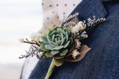 Succulent Boutonnière // Ghost Leaf by Eucca on Etsy