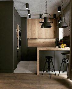 Kitchen Post, Loft Kitchen, Kitchen Room Design, Kitchen Cabinet Design, Modern Kitchen Design, Living Room Kitchen, Interior Design Kitchen, Small Modern Kitchens, Beautiful Kitchens