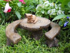 Tree Stump Table with Bench Set of 3  http://www.efairies.com/store/pc/Tree-Stump-Table-with-Bench-Set-of-3-245p6945.htm  $14.95