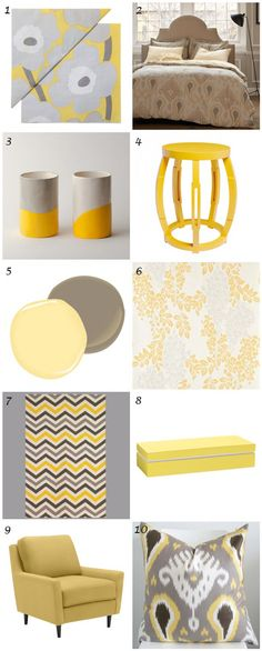 Home decor #inspiration: Yellow and grey (or gray, for our American friends). Highlights: The @west elm chair, yellow #taboret side table and #ikat pillow.