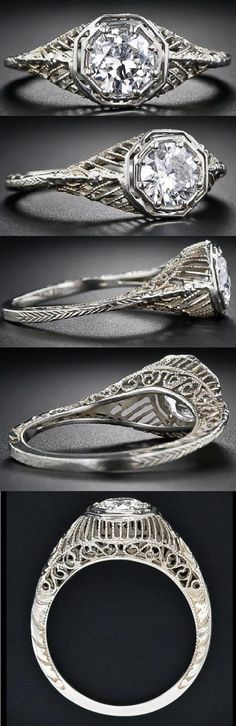 1920's filigree diamond ring, via Diamonds in the Library.