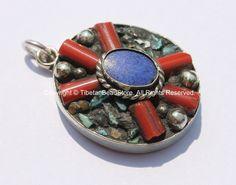 Tibetan Flower Pendant with Lapis, Turquoise & Coral Inlays - Tibetan Pendant - Boho Ethnic Tribal Tibetan Jewelry - WM6070