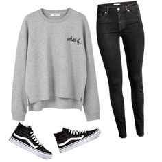 A fashion look from January 2017 featuring MANGO sweatshirts, H&M jeans and Vans sneakers. Browse and shop related looks.