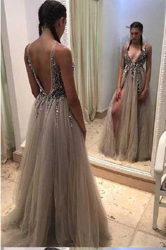 Sleeveless Prom Dress, Prom Dress Cheap, Backless Prom Dress, Prom Dresses Long, V-Neck Prom Dress, Grey Prom Dress #SleevelessPromDress #PromDressCheap #BacklessPromDress #PromDressesLong #VNeckPromDress #GreyPromDress
