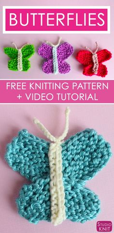 Love this pretty Butterfly Knitting Pattern with Easy Free Pattern + Video Tutorial by Studio Knit via @StudioKnit