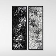 Sketching in Three Dimensions (Black)  21×63″  sculpted canvas and acrylic. Artists: STALLMAN – Jason Hallman,  Stephen Stum