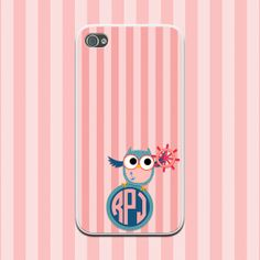 Nautical Owl Pink Stripes Monogram Phone Case iPhone 4/4s, iPhone 5/5s, iPhone 5c, Samsung Galaxy Note 3, Galaxy S5, Galaxy S4, Galaxy S3 by NouveauGypsyDesigns, $16.99