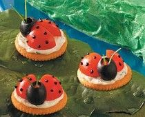 Lady bug Crackers, I'm sure you could make these with Strawberries. blueberries with cream cheese or yogurt on the cracker too. Maybe even use a gram cracker