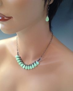 Mint Chip necklace set mint opaque quartz by Scarlet Mare Studio   $43