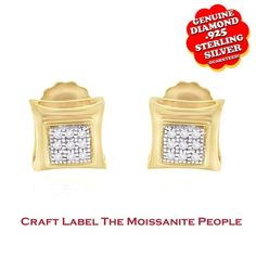 "1/20 Ct Genuine Diamond Square 14K Gold Earrings ""Mother\'s Day Gift"". Starting at $89"