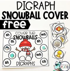 Digraph Snowball Cover This FREE snowball digraph cover game is a fun and festive way to practice digraphs this winter. This playful, hands-on activity is a perfect addition to your literacy centers and can be used in kindergarten and first grade. Centers First Grade, First Grade Phonics, First Grade Activities, First Grade Reading, Kindergarten Centers, Kindergarten Reading, Literacy Centers, Reading Centers, Reading Skills