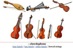 CORDÓFONO BOWED STRINGS III (Left/ Right, Up/ Down). 1.- Gadulka: Bulgaria (Eastern Europe) 2.- Stroh Violin: Europa  3.- Hardingfele : Norway 4.- Baryton: Europe  5.- Arpeggione: Europe 6.- Viola d'amore: Europe  7.- Kit: Europe 8.- Cello (violoncello): Europe