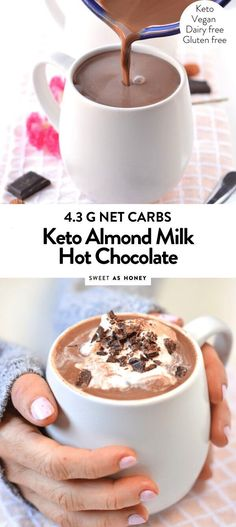 Low carb hot chocolate sugar free + dairy free - Sweetashoney KETO HOT CHOCOLATE a comforting drink with only 4 g net carbs Low Carb Drinks, Low Carb Desserts, Low Carb Recipes, Dessert Recipes, Diabetic Desserts Sugar Free Low Carb, Dessert Bread, Diabetic Hot Cocoa Recipe, Free Recipes, Easy Diabetic Meals