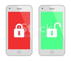 White Smart Phone With Padlock royalty-free stock vector art