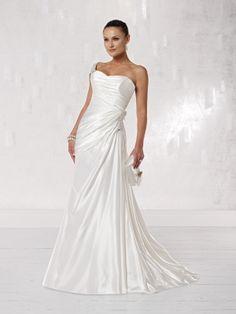 One shoulder A-line satin bridal gown