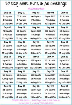 Join me for my Guns, Buns, Abs 30 Day Challenge! It's going to be tough, but it will all be worth it in the end!!! Thanks to my #TIUSisters for the inspiration! -- Arms, Booty, Abs Workout -- | -- Squats, Pushups, Leg Lifts -- #GunsBunsAbs