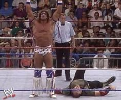 WWF ROYAL RUMBLE 1991 - The Ultimate Warrior controls Sgt. Slaughter in their WWF Championship match