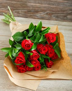 Birthday Gifts For Her: Buy Red Roses in Craft Paper Online - NetFlorist