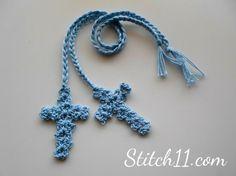 Free Crochet Cross Bookmark (stitch11.com) #crochet