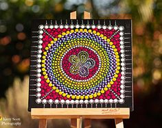 Rainbow Flower Circle Original dot art painting acrylic on canvas board Circle in a Sqare